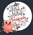 funny smiling piggy sitting with garland card vector image vector image