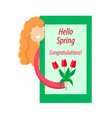 girl with red tulips vector image