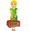 girl with road bag vector image vector image