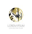 golden circle emblem with ink splash elements vector image vector image