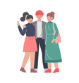 group teenagers posing for photo friends vector image vector image
