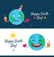 happy earth day greeting cards set vector image vector image