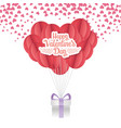 happy valentines day origami paper balloon vector image vector image