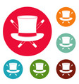 hat with a stick icons circle set vector image vector image