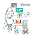 infographics and statistics with spacecraft vector image vector image
