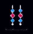 jewelry earrings precious stones vector image