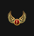 luxury letter f emblem wings logo design concept vector image vector image
