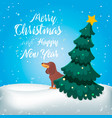 merry christmas funny cartoon dog vector image