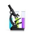 Microscope With Test Tubes Realistic Image vector image vector image