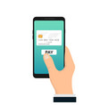 mobile payment icon online bank card hold vector image vector image