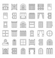 modern vintage door and window icon set outline vector image vector image