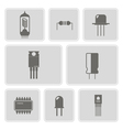 monochrome icon set with electronic components vector image vector image