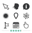 mouse cursor icon hand or flag pointer symbols