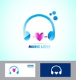 Music headphones logo icon love heart vector image vector image