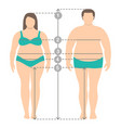 overweight man and women in full length vector image