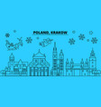 poland krakow winter holidays skyline merry vector image