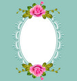 postcard background frame with roses and frame vector image vector image