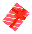 red striped gift box icon flat style vector image