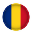 round metallic flag of romania with screw holes vector image