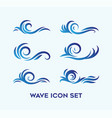 set natural wave icon with different style vector image