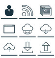 set of 9 web icons includes virtual storage wifi vector image vector image