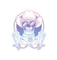 sketch skull with cowboy hat vector image vector image