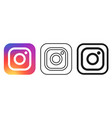 social media icon set for instagram in different vector image vector image