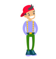 teenage caucasian white boy in baseball cap vector image