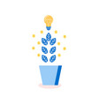 tree with leaves and lightbulbs idea plant icon vector image