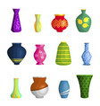 vases ceramic different shapes and colors vector image
