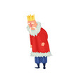 very old king with white mustache and gold crown vector image vector image