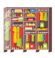 wardrobe closet with drawers and shelves from vector image