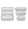 white glass buttons with metal frame set of 3d vector image