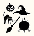 witch hat pumpkin lantern cat broom and vector image vector image