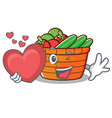 with heart fruit basket character cartoon vector image