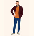 young man with beard vector image vector image