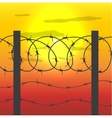 fence with barbed wire vector image