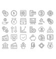 linear icons set of money and business symbols vector image