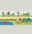 traveling camping horizontal banners vector image