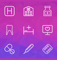 antibiotic icons line style set with medicines vector image