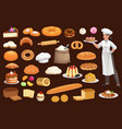 baker cake bread pastry bun and cupcakes vector image vector image