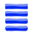 blue glass buttons shiny rectangle 3d icons with vector image