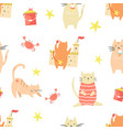 bright seamless pattern with funny cats vector image vector image