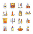 burning candle icons set in colored line style vector image vector image
