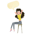 cartoon woman posing on stool with speech bubble vector image vector image