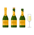 champagne bottles set on white background vector image