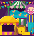 circus clown and lion in tent vector image