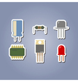 color icon set with electronic components vector image vector image
