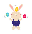 cute little bunny holding colorful eggs adorable vector image vector image