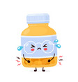 cute sad funny pill bottle vector image vector image